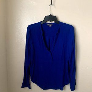 Vince Top Blouse Blue Popover V-Neck Buttons